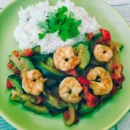Krewetki z ryżem i warzywami