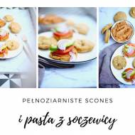 Pełnoziarniste scones z orzechami laskowymi i pomidorowa pasta z soczewicy