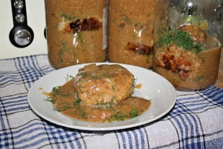 Kotlet mielony w sosie pieczeniowo-koperkowym, danie do słoika