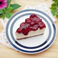 Sernik na zimno z białą czekoladą i frużeliną wiśniową