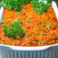 Zapiekanka z ryżem, kurczakiem, papryką, cukinią i pomidorami