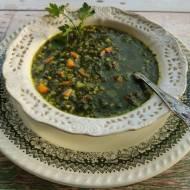Zupa szpinakowo miętowa z kaszą na ostro