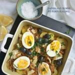 Dorsz zapiekany z ziemniakami, cebulą i oliwkami - Bacalhau à Gomes de Sá
