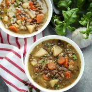 Zupa z soczewicy z kaczką pieczoną