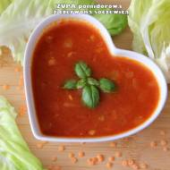 Lekka zupa pomidorowa z czerwoną soczewicą