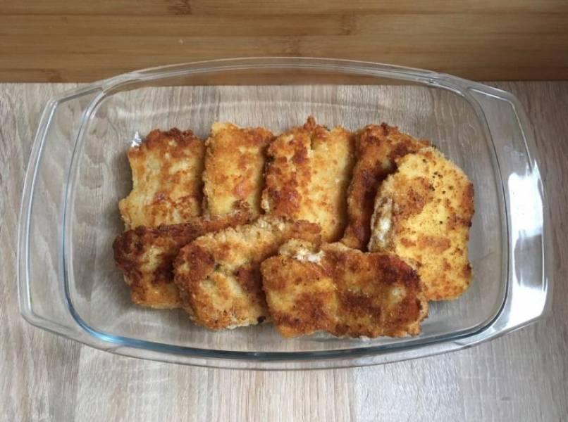 Panierowany filet rybny z musztardą i serem