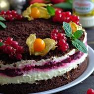 Ciasto majonezowe z masą budyniową i frużeliną wiśniową