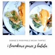 Dorsz z posypką z bulki tartej z limonkowym puree z batata na sosie ze szpinaku i śmietany oraz duszonymi z szałwią warzywami
