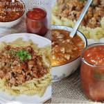 Makaron z pomidorowym sosem ogórkowym  i mięsem