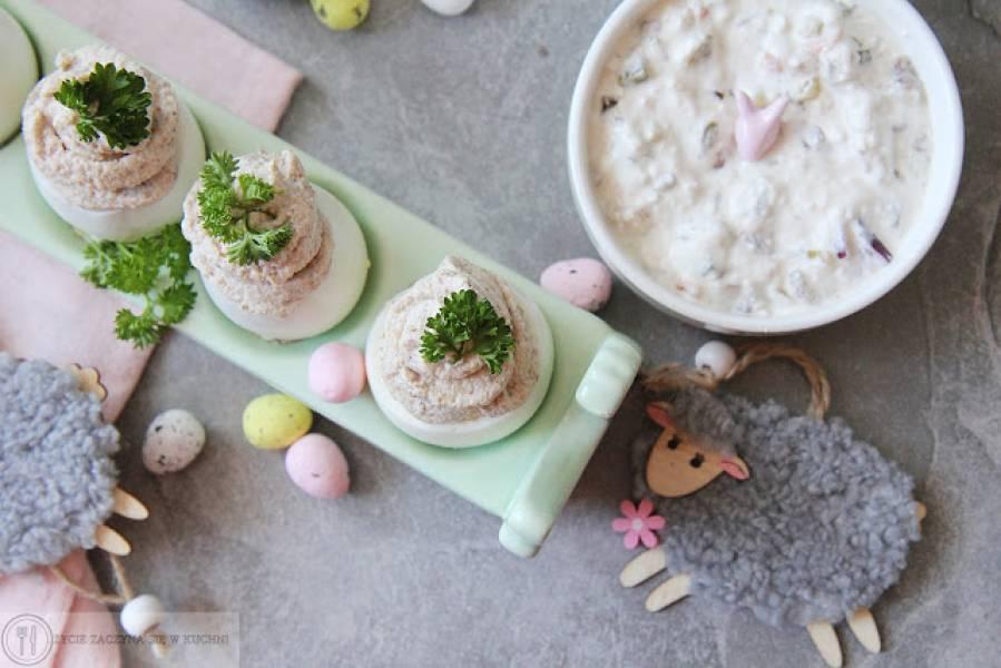 Jajka z kremowym farszem grzybowym + sos tatarski: