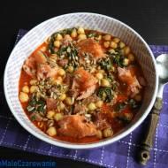 Łosoś z chorizo i gorgonzolą