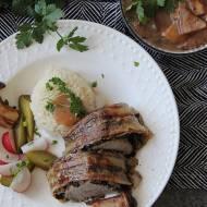 Roladka z polędwiczki wieprzowej z grzybami i boczkiem