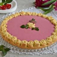 Mazurek malinowy z różami