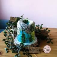 Tort jezioro otoczone górami – ręcznie malowane