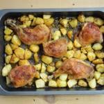 Kurczak z rosołu pieczony z ziemniakami