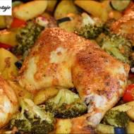 Kurczak Marynowany w Jogurcie z Pieczonymi Warzywami