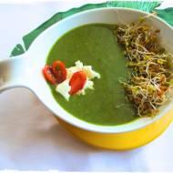 Krem brokułowo - szpinakowy z mozarellą i kiełkami