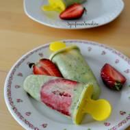 140. Zielone, wegańskie lody, czyli mleczko kokosowe, szpinak, banan, awokado i truskawki na patyku