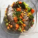 Pstrąg z warzywami