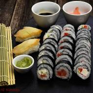 Futo maki i nigri sushi