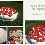 Tort bezowy Dacquoise z daktylami i orzechami włoskimi