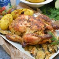 Kurczak marynowany w słodkiej śmietance,pieczony z cukinią i fetą