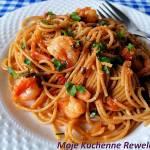 Spaghetti z krewetkami na białym winie