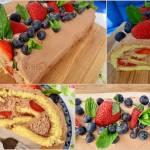 Rolada z bitą śmietaną, nutella i truskawkami