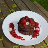 144. Zdrowo i słodko, czyli: bezglutenowe i bezmleczne placuszki czekoladowe z płatkami owsianymi i malinami