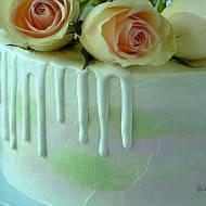 BIAŁY DRIP – biała polewa na tort