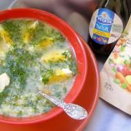 pyszna zupa koperkowa z lanymi kluskami i jajkiem...