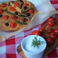 Keto focaccia ze szparagami i pomidorami (Paleo, LowCarb)