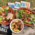 Misja grill – grillowane ziemniaki, warzywa, portobello i kiełbaski w tortilli