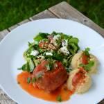 146.Leniwy, smaczny obiad, czyli: pieczone gołąbki bez zawijania z młodą kapustką i tartą marchewką z dodatkiem nasion chia (bez