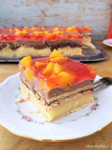 Leniwe ciasto bez pieczenia z owocami (budyniowe, na herbatnikach) / Lazy No Bake Pudding Cake