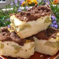 pyszne ciasto kruche z rabarbarem,budyniem, kakaową kruszonką...