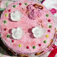Różowy tort z malinową nutą dla dziewczynki (na 3 urodziny Natalii)