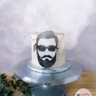 Męski tort ręcznie malowany