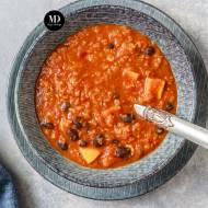 Zupa z soczewicy z batatami i fasolą