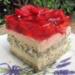 Ciasto makowe z kremem, truskawkami i galaretką-Makowa Panienka+FILM