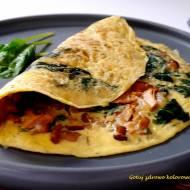 Omlet ze szpinakiem i kurkami