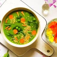 Zupa krem z groszku i szpinaku na rosole