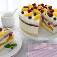 Tort jogurtowy z morelami i malinami