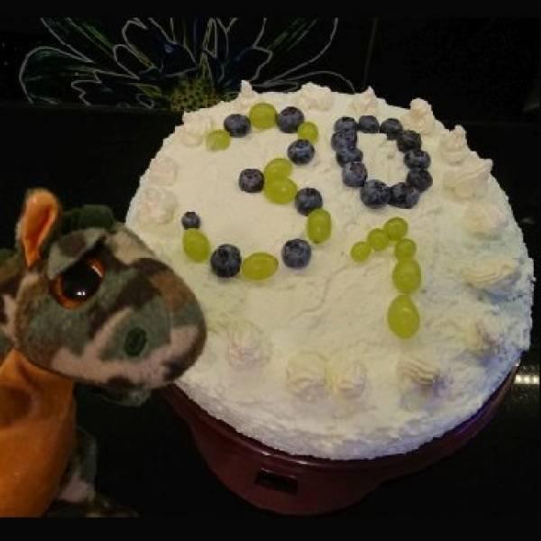 Niebiesko-zielony tort na podwójne urodziny