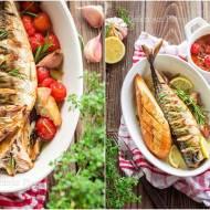 Pieczona makrela z konfitowanymi pomidorkami / Baked mackerel with confit cherry tomatoes