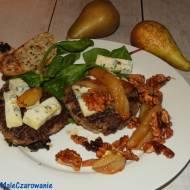 Kotlety mielone grillowane z gruszką, rokpolem i orzechami włoskimi