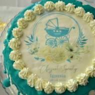 Tort z malinami i kajmakiem na Chrzest