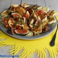 Sałatka z karmelizowanych gruszek, halloumi z figami i tymiankiem