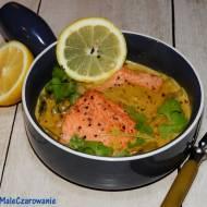 Pstrąg curry w sosie śmietanowo - pieczarkowym