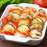 Zapiekany filet z kolorowymi warzywami